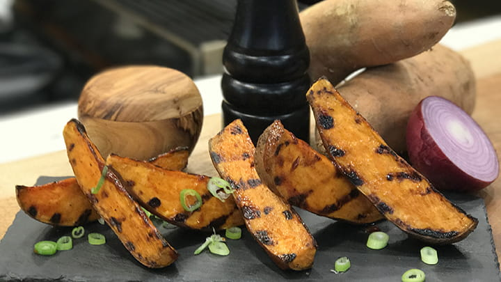 Grilled Sweet Potatoes with Sticky Sweet Chipotle Bar B Q Sauce
