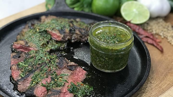 Jalapeno Marinated Skirt Steak with Chimichurri