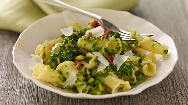Kale, Bacon and Pistachio Pasta