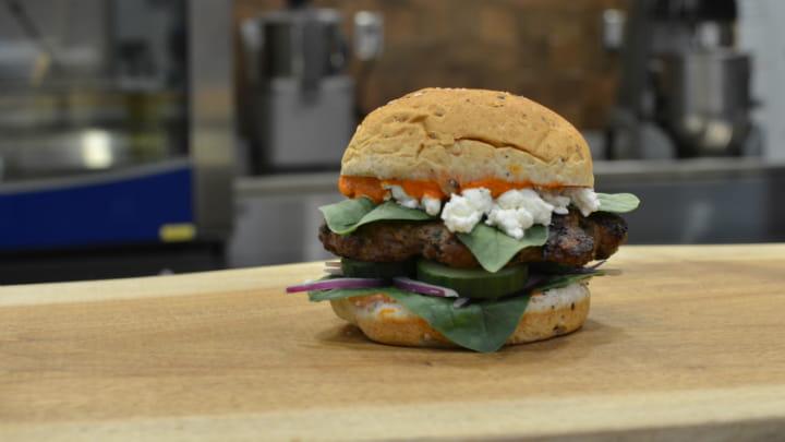 Lamb Burger with Harissa Spread