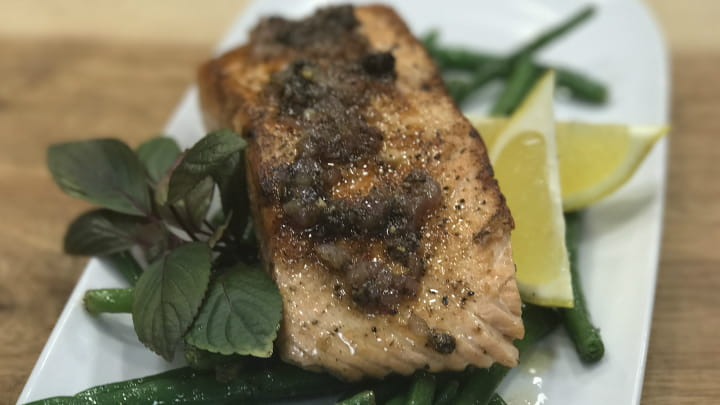 Lemon Pepper Salmon with Brown Butter Sauce
