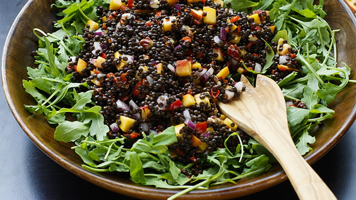 Lentil and Peach Salad with Tarragon Mustard Vinaigrette