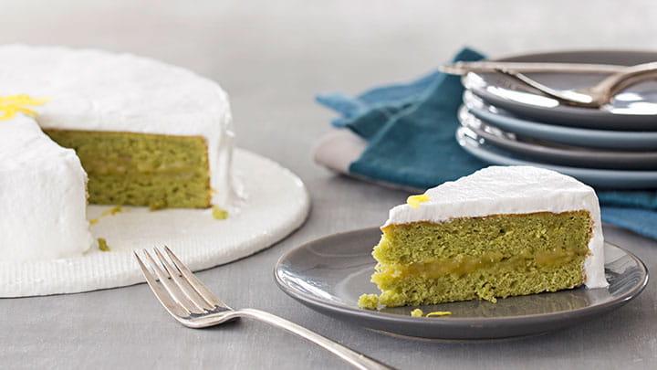 Matcha Green Tea Cake with Lemon Meringue Frosting
