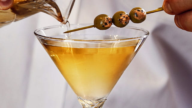 Black Pepper Infused Dirty Martini