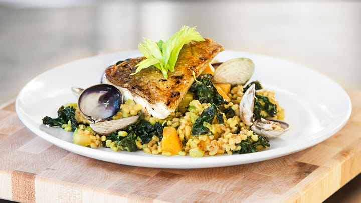 Roasted Pickerel and Spiced Kale with Barley Risotto