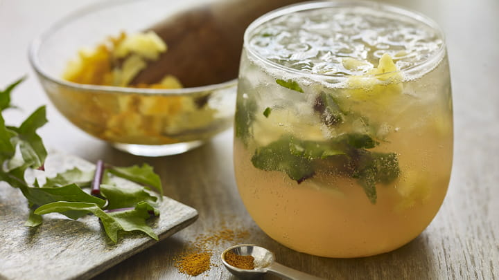 Pineapple Turmeric Mocktail with Dandelion Greens