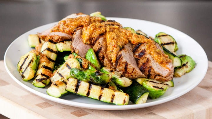 pork_tenderloin_with_charred_summer_romesco_and_grilled_brussels_sprouts_720x405