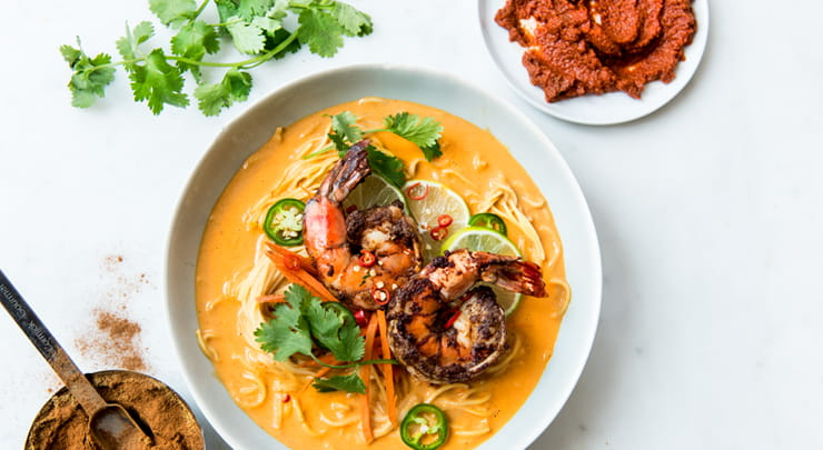 Red Curry Noodle Bowl with Spice Rubbed Shrimp