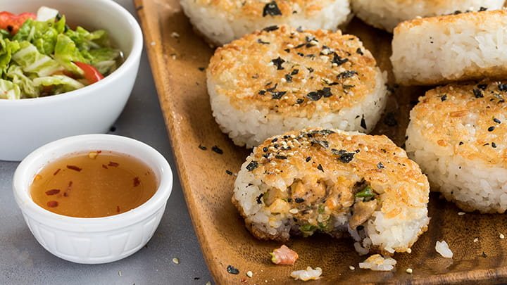 Sesame and 7 Spice Chicken Rice Balls with Kimchee