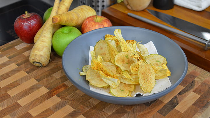 Smoky Chili Cumin Parsnip and Apple Chips