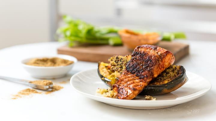 Spice Rubbed Pickerel with Quinoa Stuffed Squash