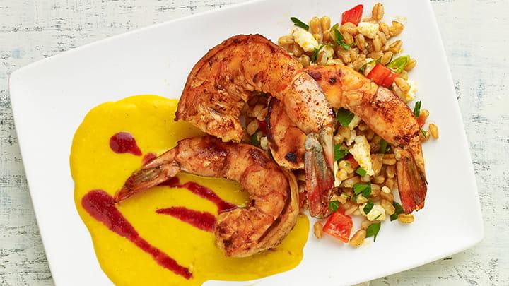 Spiced Shrimp with Roasted Corn Puree Plum Sauce and Farro Salad