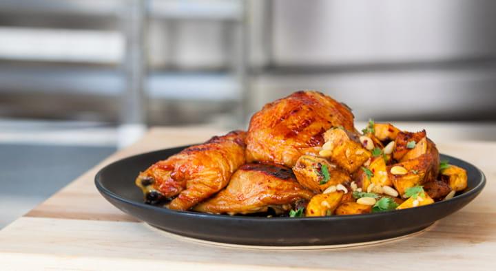 Tailgate Smoked Chicken w/ Warm Sweet Potato Salad