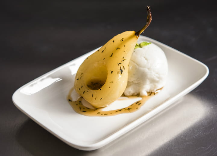 Thyme and Cinnamon Poached Pear