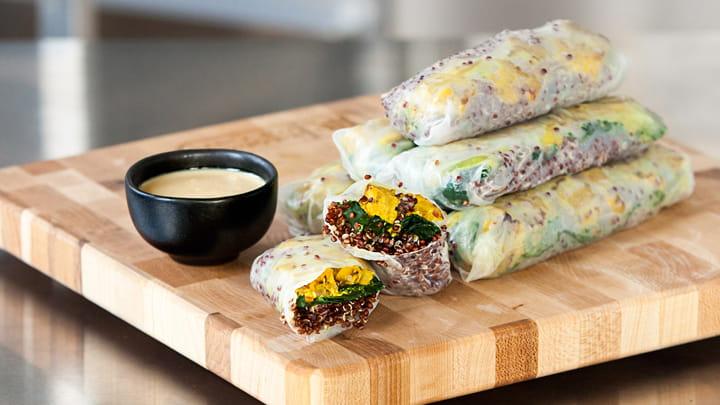 Tempeh Turmeric Kale and Quinoa Summer Rolls