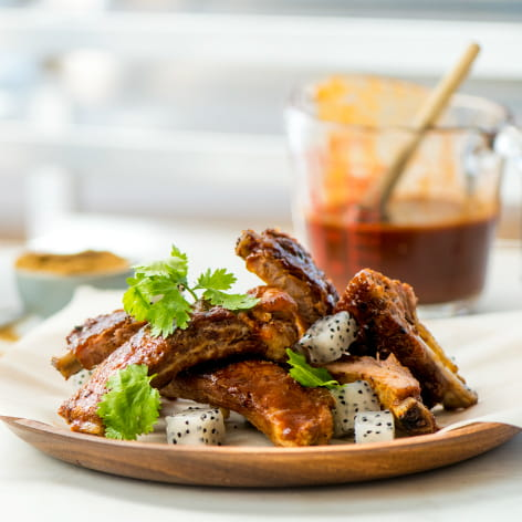 Bacon Seasoned BBQ Ribs with Pickled Dragon Fruit