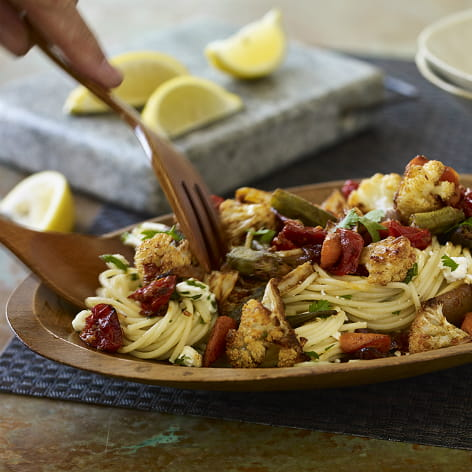 Berbere Spiced Roasted Vegetables and Pasta