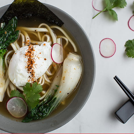 Bonito Udon Broth Bowl with Poached Egg