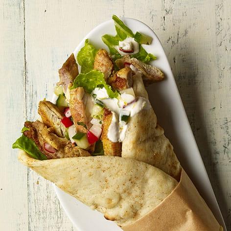 Chicken Shawarma Wrap with Cucumber Radish Relish
