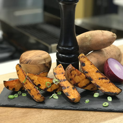 Grilled Sweet Potatoes with Sticky Sweet Chipotle Ba-B-Q Sauce