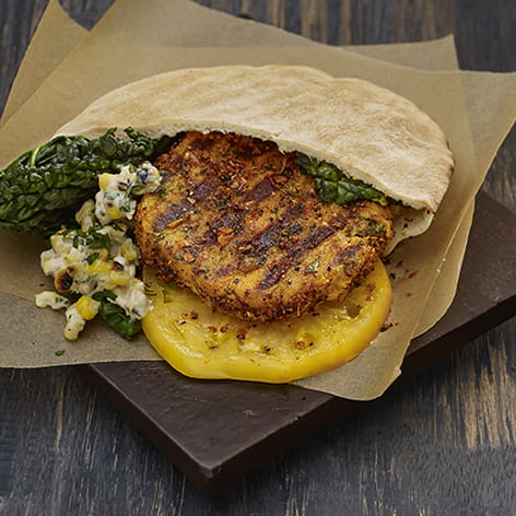 Mojito Lime Chickpea Burger with Grilled Corn Topping