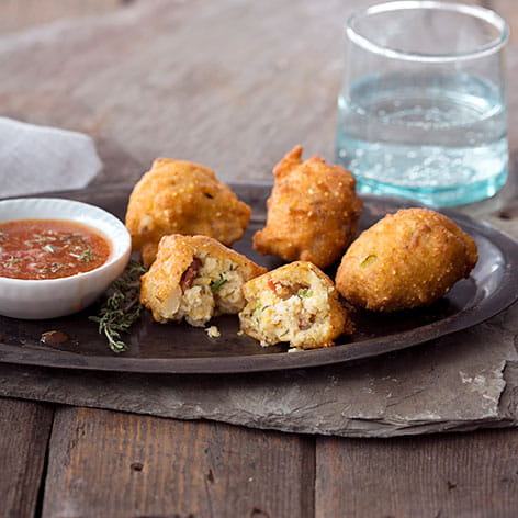 Hominy Fritters with Bacon Thyme Dipping Sauce