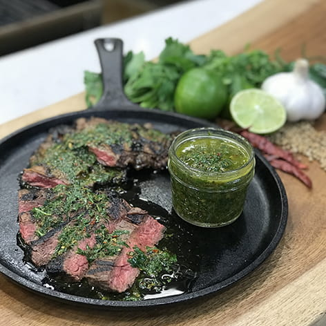 Jalapeno Marinated Skirt Steak with Chimichurri