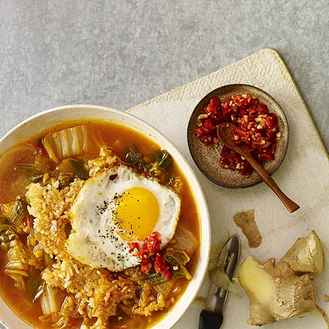 Kimchi Broth Bowl with Crispy Rice and Fried Egg