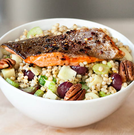 Spicy Pan Fried Trout Warm Sorghum Salad Bowl