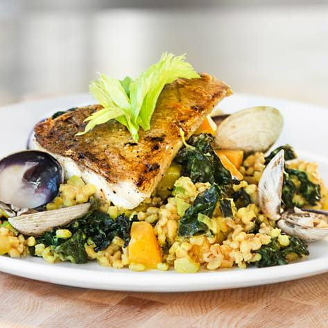 Roasted Pickerel and Spiced Kale w/ Barley Risotto
