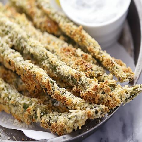 Parmesan Asparagus with Yogurt Ranch Dip