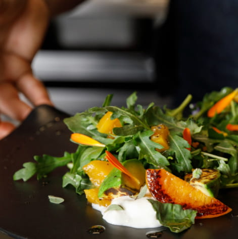 Charred & Pickled Peach Burrata Salad