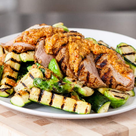 Pork Tenderloin with Summer Romesco and Brussels Sprouts