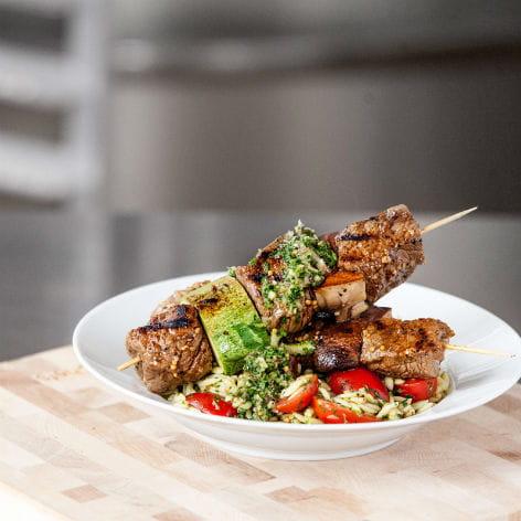Chimichurri Steak Kebabs with Summer Orzo