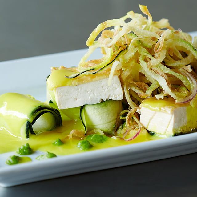 Tofu w/ Turmeric Beurre Blanc & Zucchini Ribbons