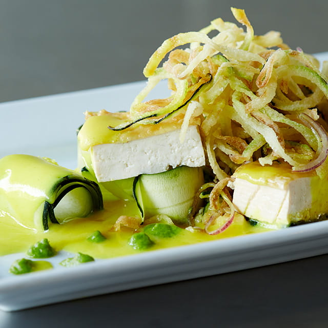 Tofu w Turmeric Beurre Blanc Zucchini Ribbons