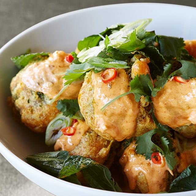 Turmeric Fried Broccoli W Red Curry Sauce