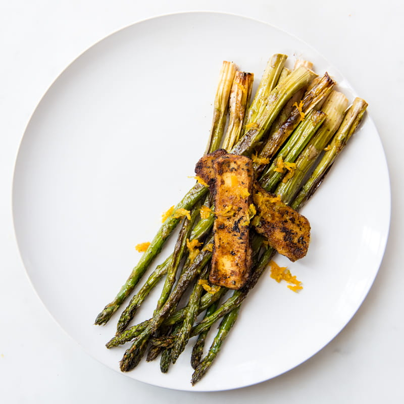 Roasted Asparagus with Halloumi and Citrus Honey Drizzle