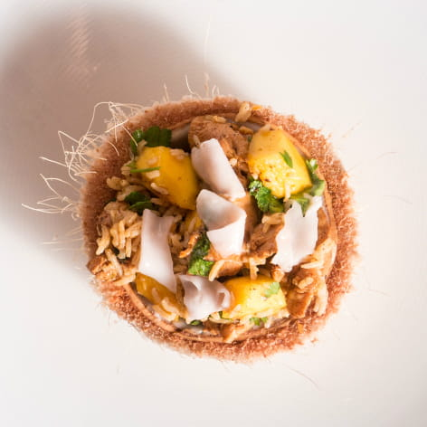 Smoky Cumin Chicken with Mango and Coconut