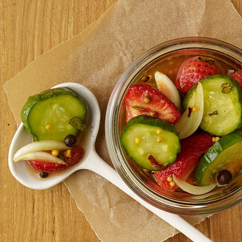 Smoky Sweet Pickles with Strawberries