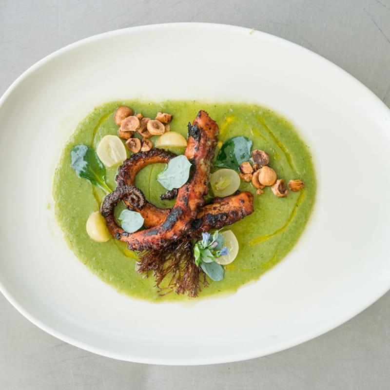 Spanish Octopus in Green Grape Gazpacho
