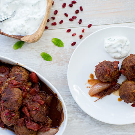 Spiced Lamb Meatballs with Barberries and Mint Yogurt