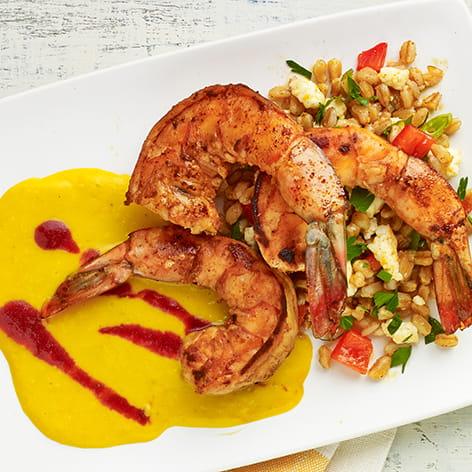 Spiced Shrimp with Roasted Corn Puree, Plum Sauce and Farro Salad