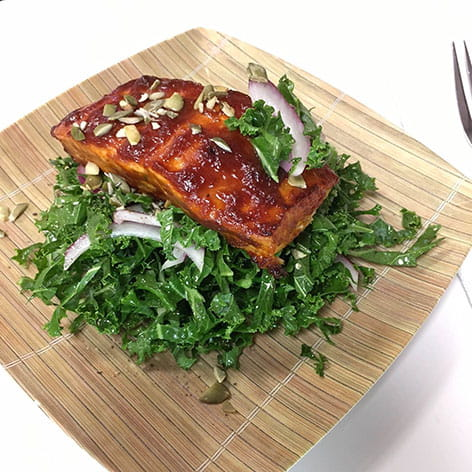 Sticky Sweet Glazed Salmon and Kale Salad
