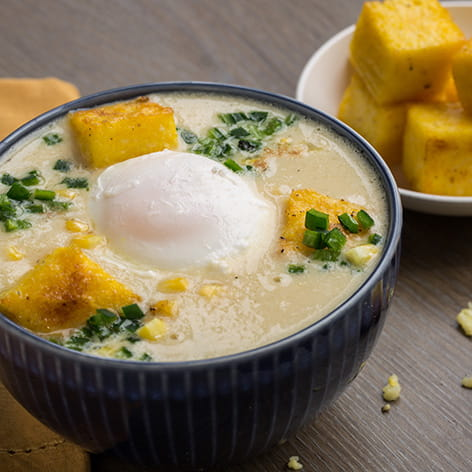 Sweet Corn Broth Bowl with Poached Egg