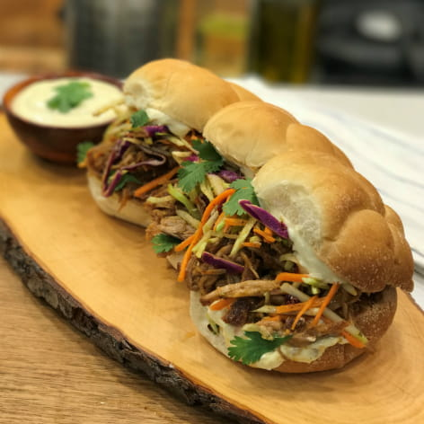 Thai Pulled Pork Sliders with Green Curry Aioli