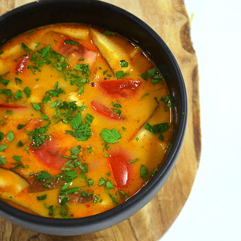 Thai Red Curry Coconut Soup with Grilled Chili Ginger Garlic Chicken