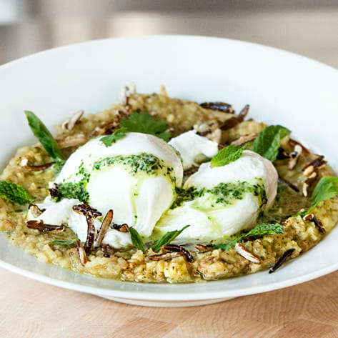 Thai Green Curry Congee with Thai Sausage Poached Eggs and Puffed Rice