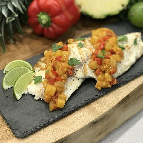 Sweet and Sour Tilapia with Roasted Ginger Pineapple Salsa