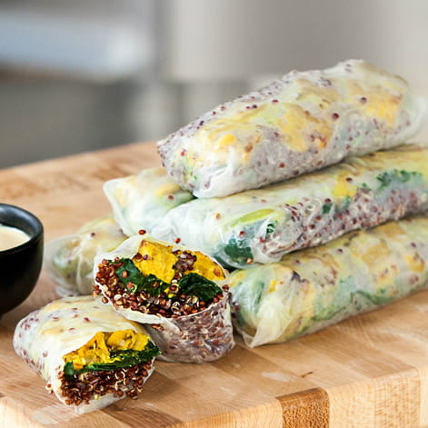 Turmeric Tempeh Summer Rolls with Kale and Quinoa